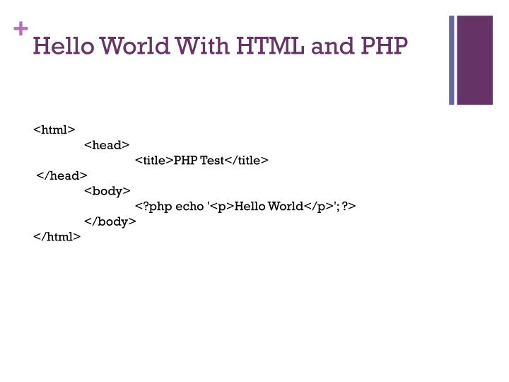 Hello World With HTML and PHP