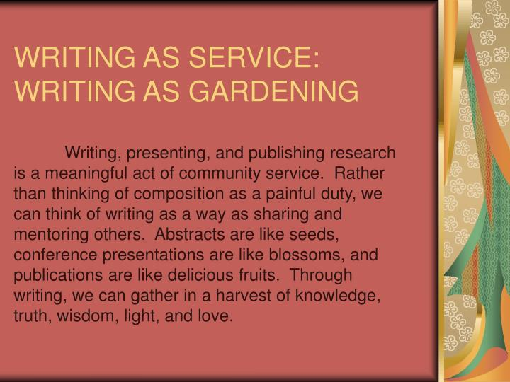 WRITING AS SERVICE:
