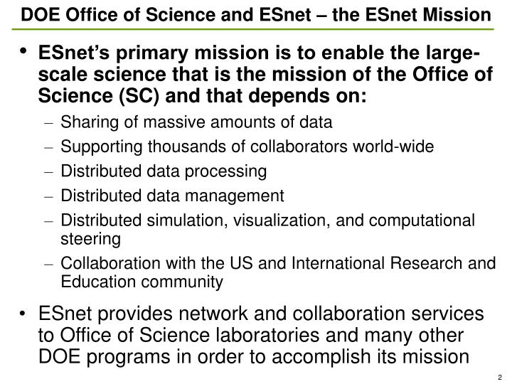 DOE Office of Science and ESnet – the ESnet Mission