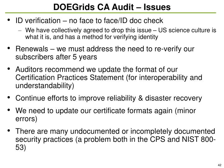 DOEGrids CA Audit – Issues