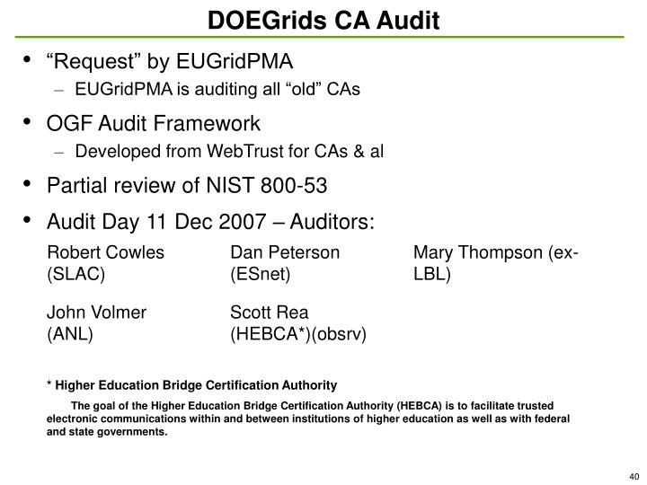 DOEGrids CA Audit