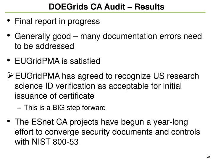 DOEGrids CA Audit – Results