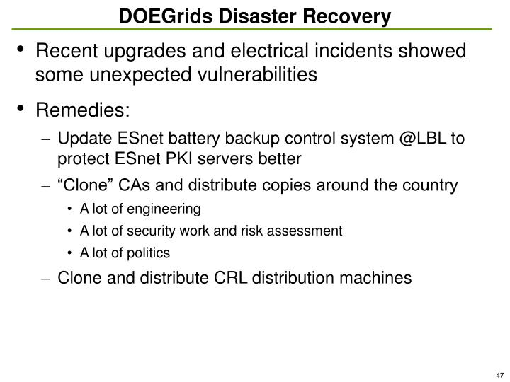 DOEGrids Disaster Recovery