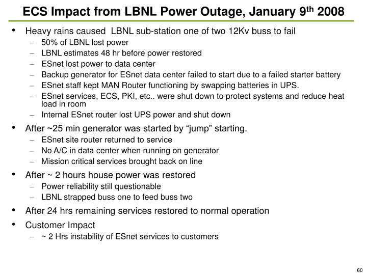 ECS Impact from LBNL Power Outage, January 9