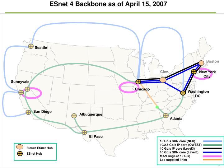ESnet 4 Backbone as of April 15, 2007