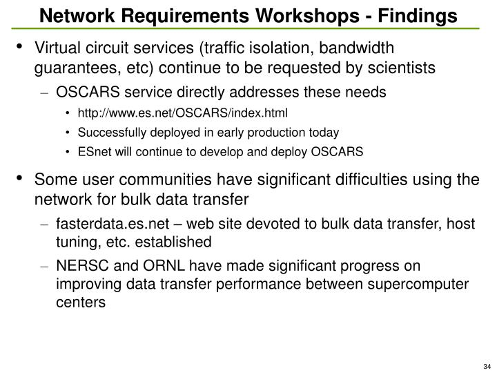 Network Requirements Workshops - Findings