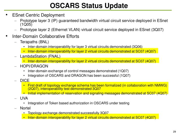OSCARS Status Update