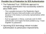 possible use of federation for ecs authentication