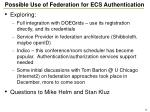 possible use of federation for ecs authentication1