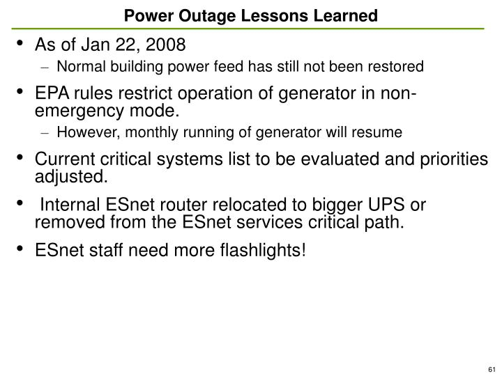 Power Outage Lessons Learned