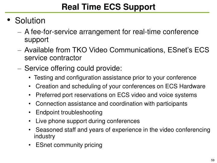Real Time ECS Support