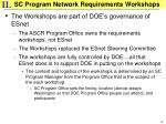 sc program network requirements workshops
