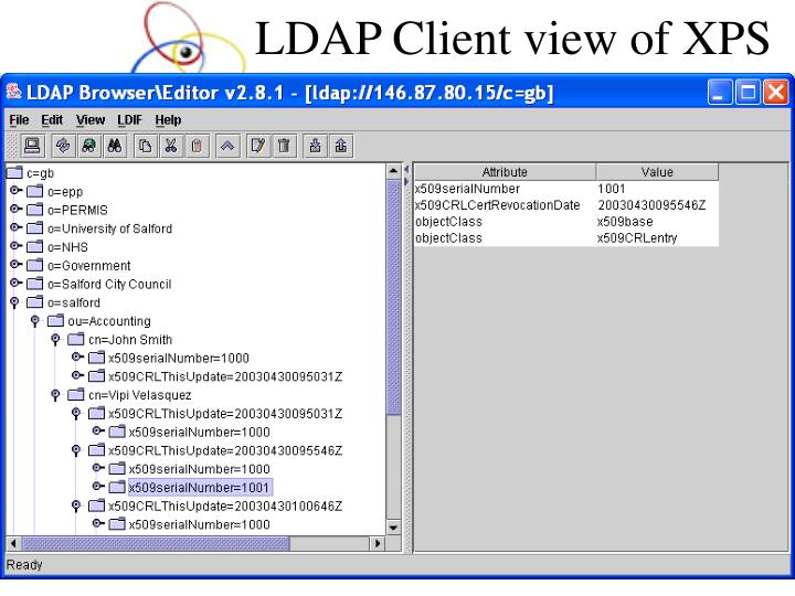 LDAP Client view of XPS