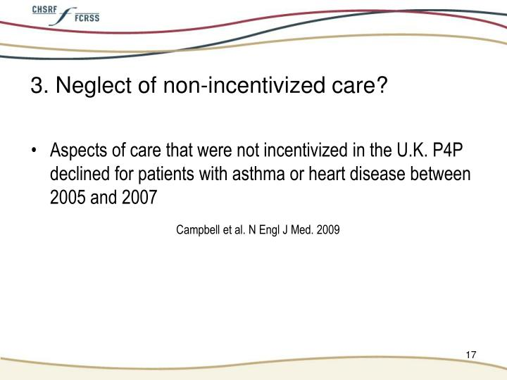3. Neglect of non-incentivized care?