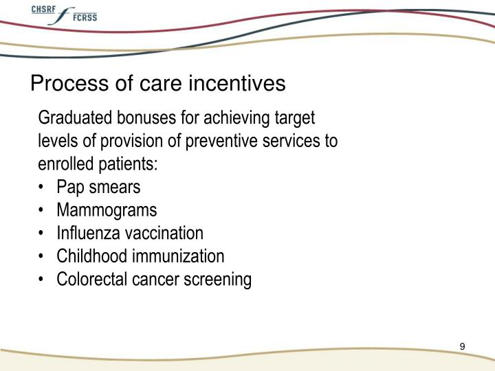 Process of care incentives