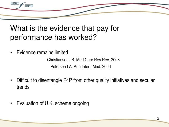 What is the evidence that pay for performance has worked?