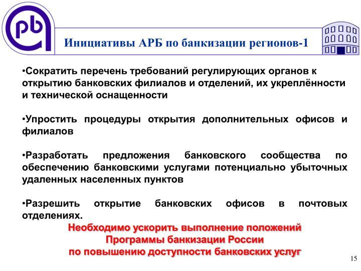 Инициативы АРБ по банкизации регионов-1