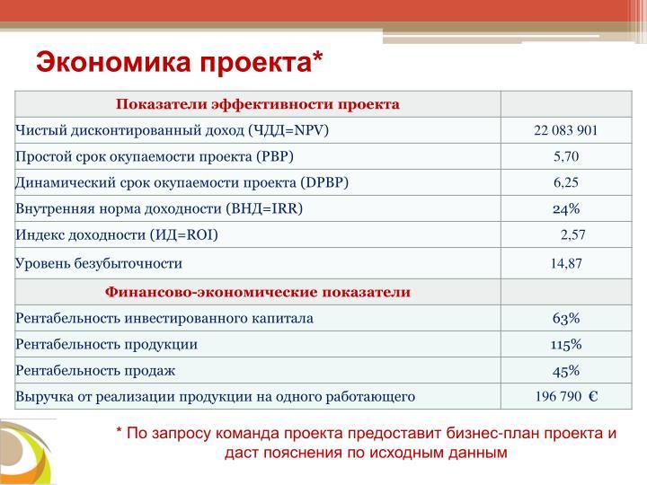 Экономика проекта*