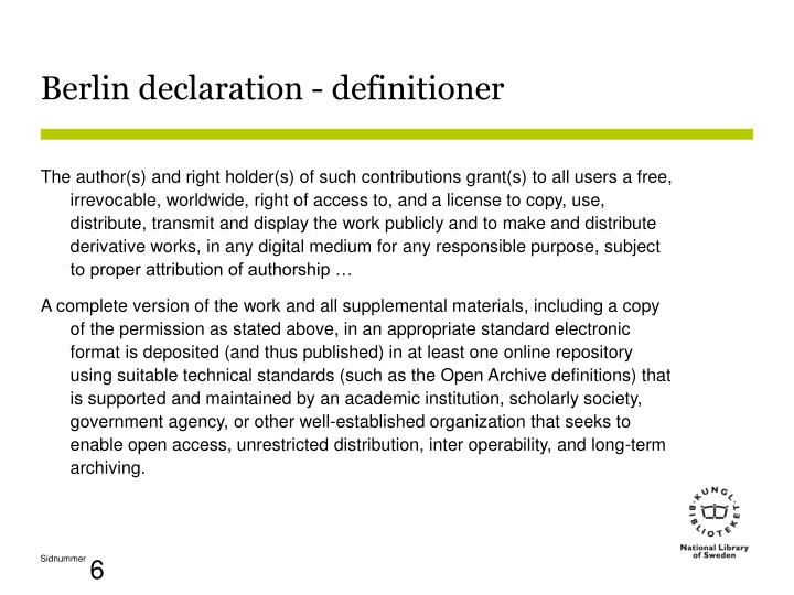Berlin declaration - definitioner