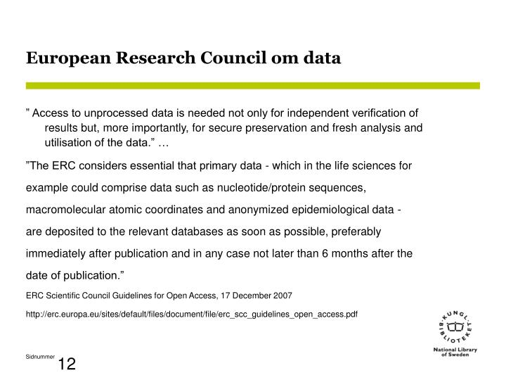 European Research Council om data