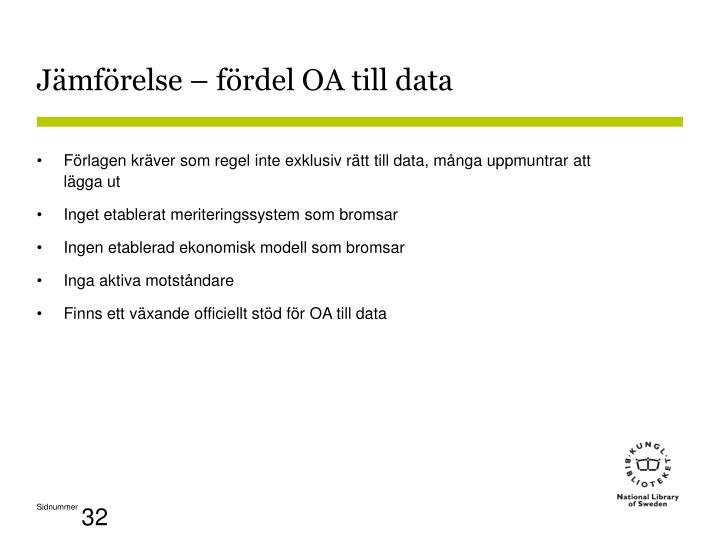 Jämförelse – fördel OA till data