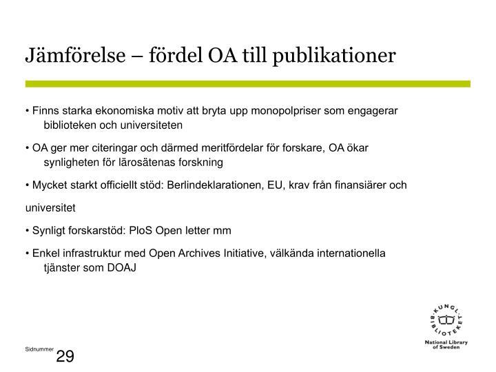 Jämförelse – fördel OA till publikationer