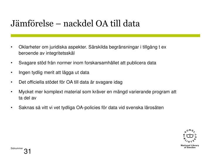 Jämförelse – nackdel OA till data