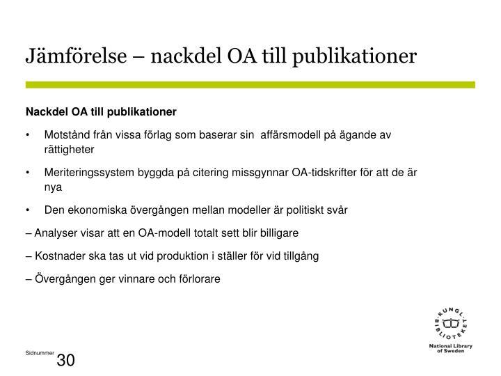Jämförelse – nackdel OA till publikationer