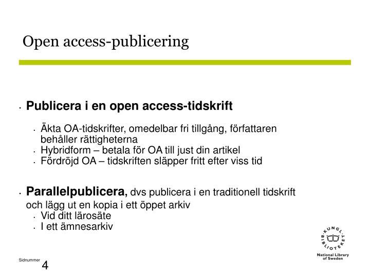 Open access-publicering
