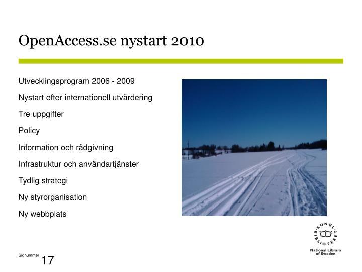 OpenAccess.se nystart 2010