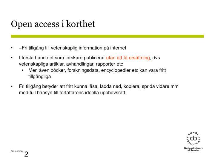 Open access i korthet