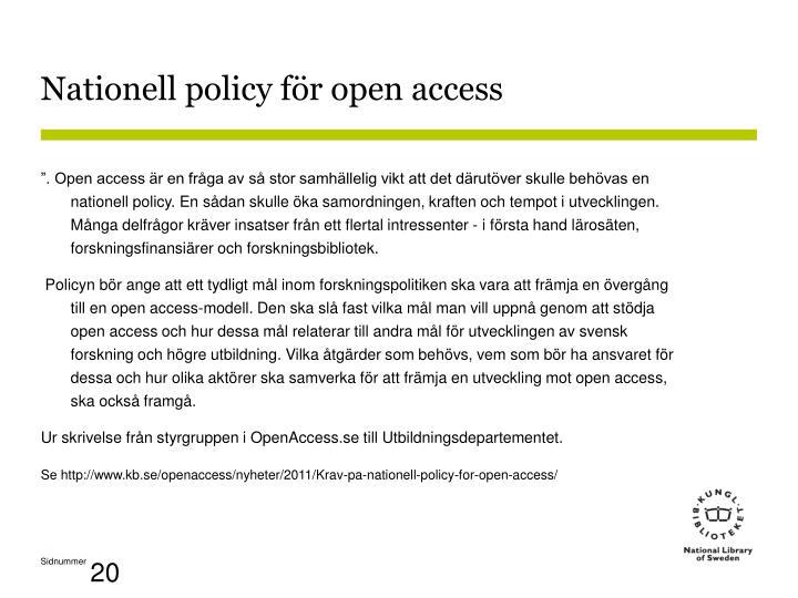 Nationell policy för open access