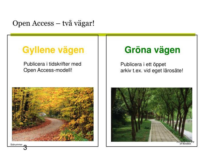Open Access – två vägar!