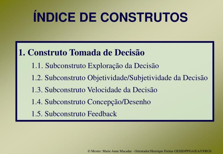ÍNDICE DE CONSTRUTOS