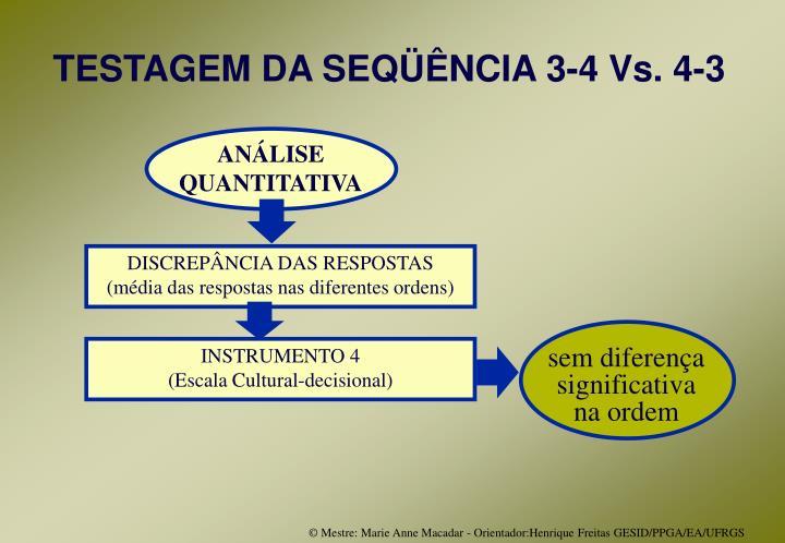 TESTAGEM DA SEQÜÊNCIA 3-4 Vs. 4-3