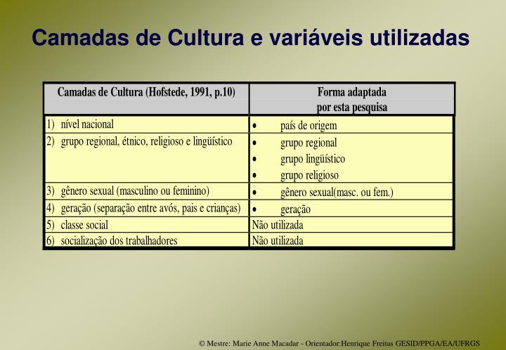 Camadas de Cultura e variáveis utilizadas
