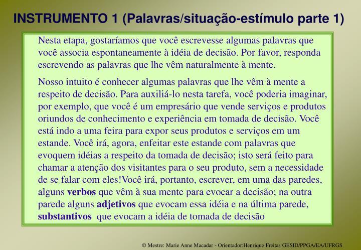 INSTRUMENTO 1 (Palavras/situação-estímulo parte 1)