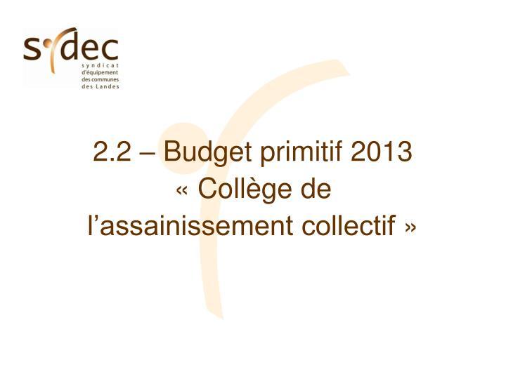 2.2 – Budget primitif 2013