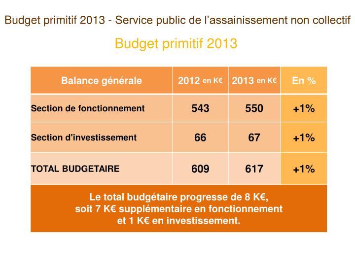 Budget primitif 2013 - Service public de l'assainissement non collectif