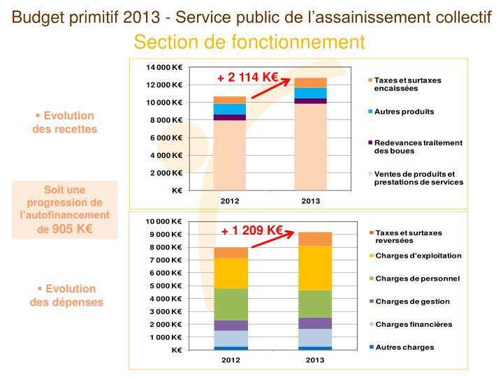 Budget primitif 2013 - Service public de l'assainissement collectif