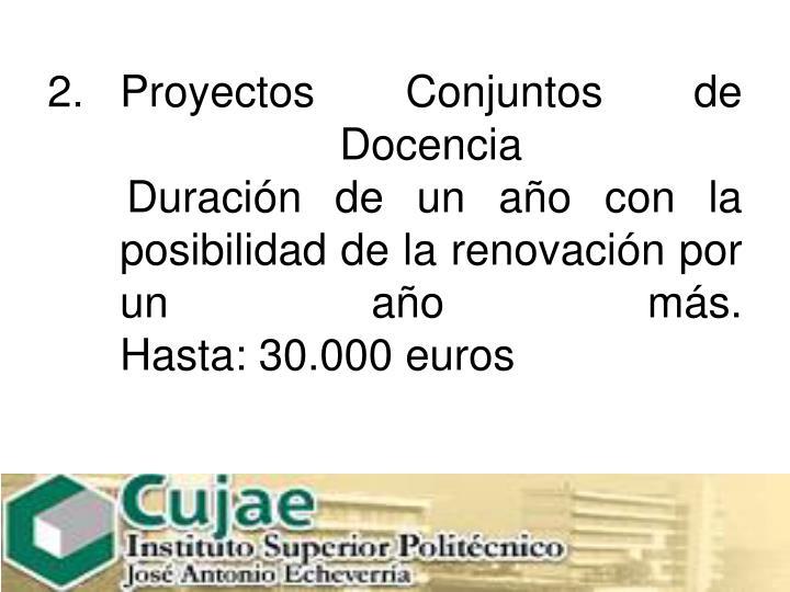 Proyectos Conjuntos de Docencia