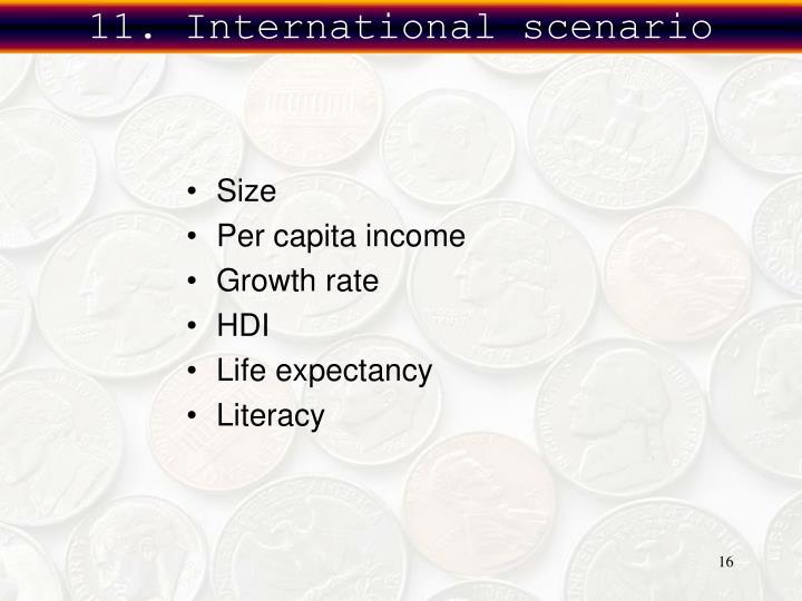11. International scenario