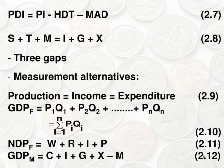 PDI = PI ‑ HDT – MAD     (2.7)