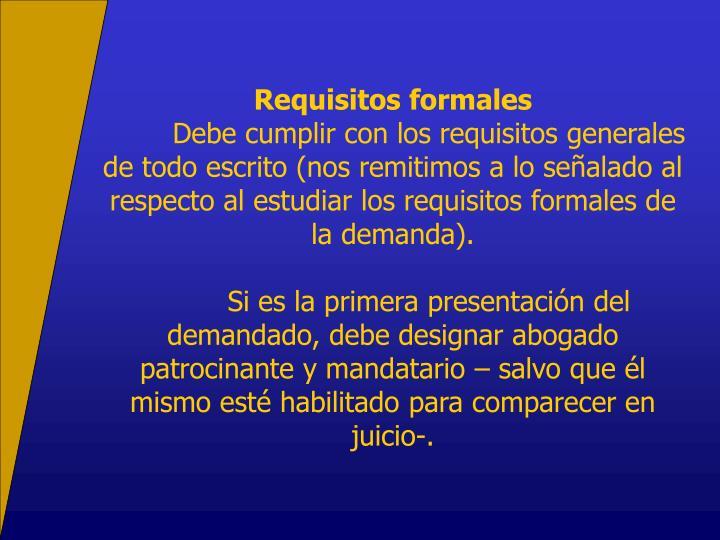 Requisitos formales