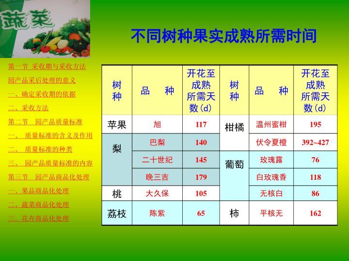 不同树种果实成熟所需时间