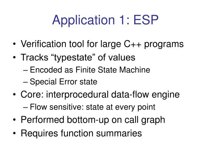 Application 1: ESP