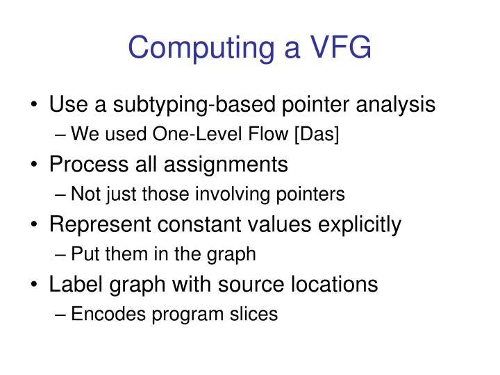 Computing a VFG