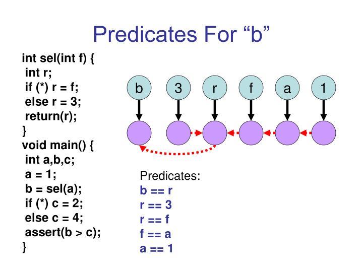 "Predicates For ""b"""
