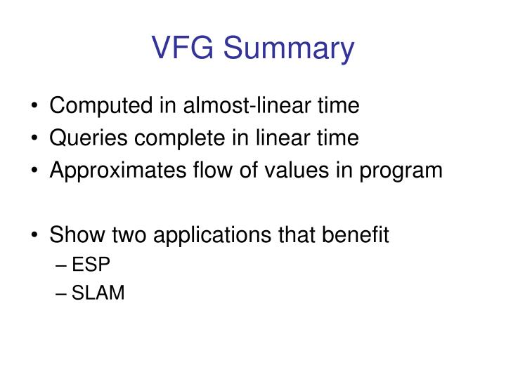 VFG Summary