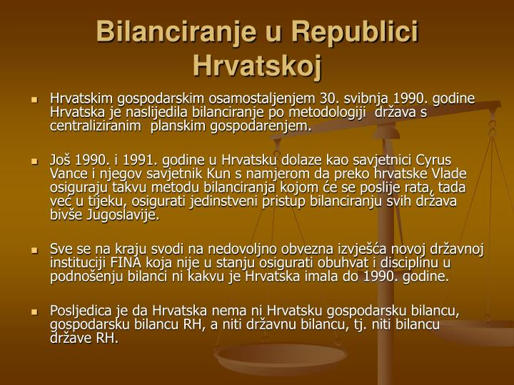 Bilanciranje u Republici Hrvatskoj